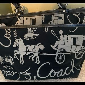 Coach Black Fabric Carriage Logo Tote